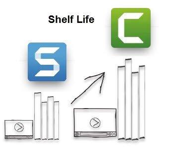 Иллюстрация, демонстрирующая логотип Snagit с более короткими видеороликами о сроке годности по сравнению с логотипом Camtasia с более продолжительными видеороликами о сроке годности