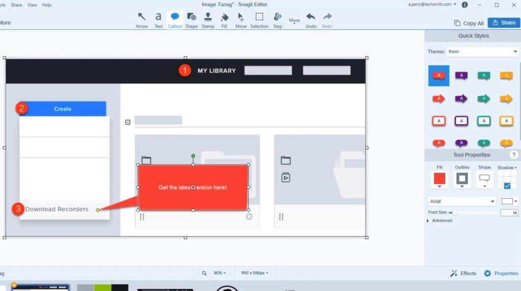 Интерфейс Snagit в действии, со скриншотом, выносками и пошаговым инструментом